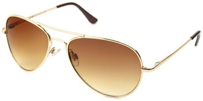 Angle of Sundown #3220 in Gold Frame with Gold Lenses, Women's and Men's Aviator Sunglasses