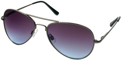 Angle of Sundown #3220 in Grey Frame with Blue Lenses, Women's and Men's Aviator Sunglasses