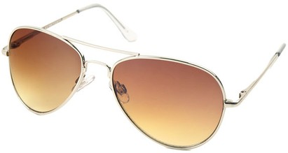 Angle of Sundown #3220 in Silver Frame with Gold Lenses, Women's and Men's Aviator Sunglasses