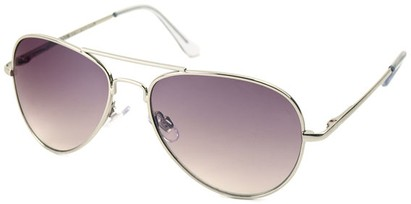 Angle of Sundown #3220 in Silver Frame with Smoke Lenses, Women's and Men's Aviator Sunglasses