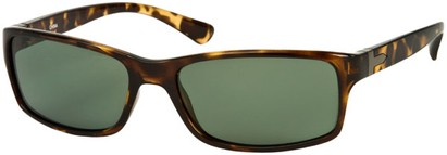 Angle of SW Polarized Style #1152 in Tan Tortoise Frame with Green Lenses, Women's and Men's
