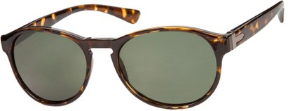 Angle of Sparrow #1886 in Tortoise Frame with Green Lenses, Women's and Men's Round Sunglasses