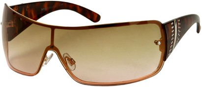 Angle of SW Rhinestone Shield Style #239 in Brown Tortoise Frame with Light Amber Lenses, Women's and Men's