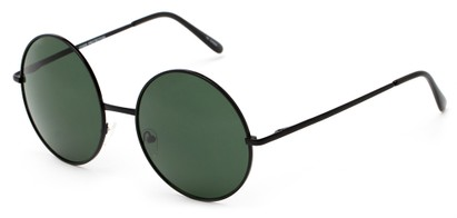 Angle of Winnipeg #3287 in Black Frame with Green Lenses, Women's and Men's Round Sunglasses