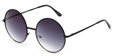 Angle of Winnipeg #3287 in Black Frame with Smoke Lenses, Women's and Men's Round Sunglasses