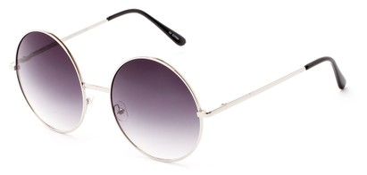Angle of Winnipeg #3287 in Silver Frame with Smoke Lenses, Women's and Men's Round Sunglasses