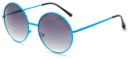 Angle of Pontoon #3288 in Blue Frame with Smoke Lenses, Women's Round Sunglasses