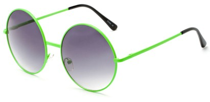 Angle of Pontoon #3288 in Green Frame with Smoke Lenses, Women's Round Sunglasses