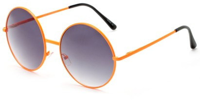 Angle of Pontoon #3288 in Orange Frame with Smoke Lenses, Women's Round Sunglasses