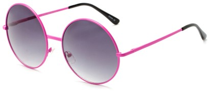 Angle of Pontoon #3288 in Pink Frame with Smoke Lenses, Women's Round Sunglasses