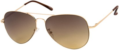 Angle of Reef #6250 in Gold Frame with Amber Lenses, Women's and Men's Aviator Sunglasses