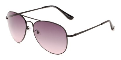 Angle of Reef #6250 in Black Frame with Rose Smoke Lenses, Women's and Men's Aviator Sunglasses