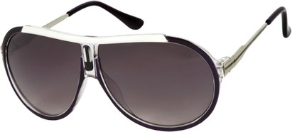 Angle of SW Oversized Aviator Style #6133 in Purple/Silver Frame, Women's and Men's