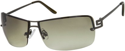 Angle of Cypress #8334 in Grey Frame with Green Lenses, Women's and Men's Square Sunglasses