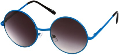 Angle of Sun Valley #481 in Neon Blue Frame, Women's and Men's Round Sunglasses