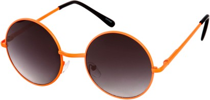 Angle of Sun Valley #481 in Neon Orange Frame, Women's and Men's Round Sunglasses