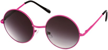 Angle of Sun Valley #481 in Neon Pink Frame, Women's and Men's Round Sunglasses