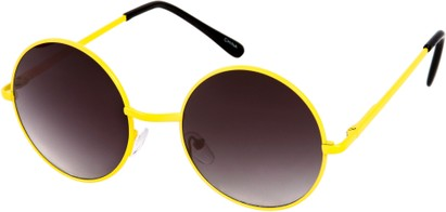 Angle of Sun Valley #481 in Neon Yellow Frame, Women's and Men's Round Sunglasses