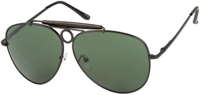 Angle of SW Aviator Style #124 in Black Frame with Green Lenses, Women's and Men's
