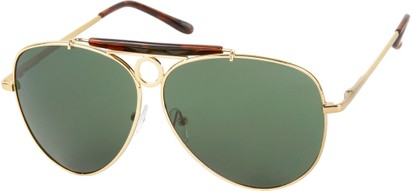 Angle of SW Aviator Style #124 in Gold Frame with Green Lenses, Women's and Men's