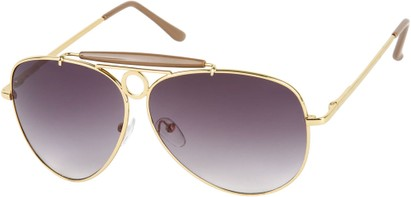 Angle of SW Aviator Style #124 in Gold Frame with Smoke Lenses, Women's and Men's