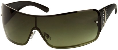Angle of SW Rhinestone Shield Style #239 in Black Frame with Green Lenses, Women's and Men's