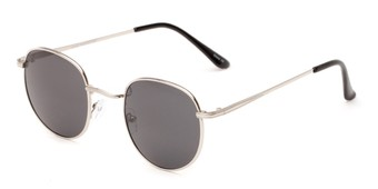 Angle of Dodger #3437 in Silver Frame with Grey Lenses, Women's and Men's Round Sunglasses