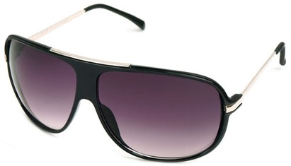 Angle of SW Oversized Aviator Style #445 in Black/Grey Frame with Smoke Lenses, Women's and Men's