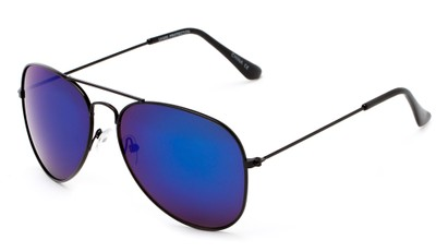 Angle of Ranch #3549 in Black Frame with Blue Mirrored Lenses, Women's and Men's Aviator Sunglasses
