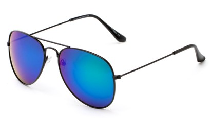 Angle of Ranch #3549 in Black Frame with Blue/Green Mirrored Lenses, Women's and Men's Aviator Sunglasses