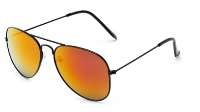Angle of Ranch #3549 in Black Frame with Orange Mirrored Lenses, Women's and Men's Aviator Sunglasses