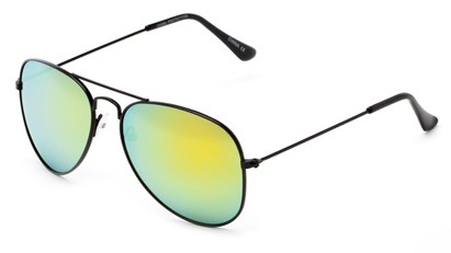 Angle of Ranch #3549 in Black Frame with Yellow Mirrored Lenses, Women's and Men's Aviator Sunglasses