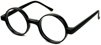 Angle of SW Clear Round Style #2310 in Black Frame, Women's and Men's
