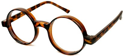 Angle of SW Clear Round Style #2310 in Tortoise Frame, Women's and Men's