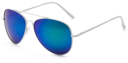 Angle of Everest #3482 in White Frame with Blue/Green Mirrored Lenses, Women's and Men's Aviator Sunglasses