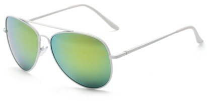 Angle of Everest #3482 in White Frame wit Green/Yellow Mirrored Lenses, Women's and Men's Aviator Sunglasses
