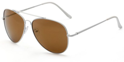 Angle of Everest #3482 in White Frame with Brown Lenses, Women's and Men's Aviator Sunglasses