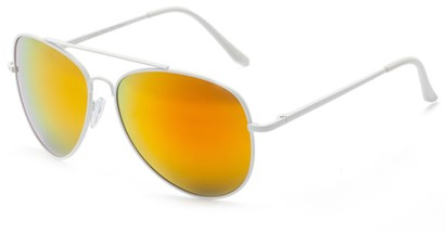Angle of Everest #3482 in White Frame with Yellow/Orange Mirrored Lenses, Women's and Men's Aviator Sunglasses