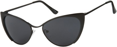 Angle of Rogue #1316 in Matte Black Frame with Grey Lenses, Women's Cat Eye Sunglasses