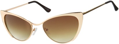 Angle of Rogue #1316 in Gold Frame with Amber Lenses, Women's Cat Eye Sunglasses