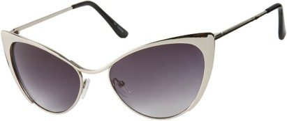 Angle of Rogue #1316 in Silver Frame with Smoke Lenses, Women's Cat Eye Sunglasses