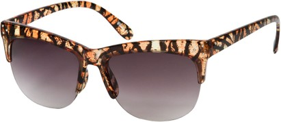 Angle of SW Animal Print Retro Style #7688 in Brown Tiger Print Frame, Women's and Men's
