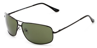 Angle of Nepal #3609 in Black Frame with Green Lenses, Women's and Men's Aviator Sunglasses
