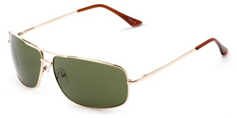 Angle of Nepal #3609 in Gold Frame with Green Lenses, Women's and Men's Aviator Sunglasses