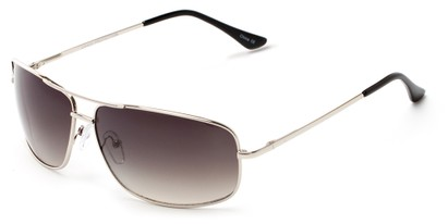 Angle of Nepal #3609 in Silver Frame with Smoke Lenses, Women's and Men's Aviator Sunglasses