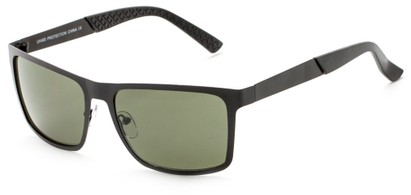 Angle of Polo #3637 in Black Metal Frame with Green Lenses, Women's and Men's Square Sunglasses