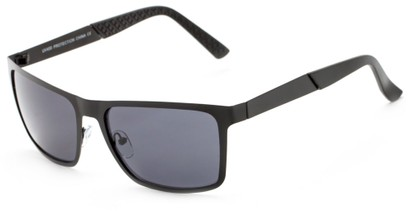 Angle of Polo #3637 in Black Metal Frame with Smoke Lenses, Women's and Men's Square Sunglasses