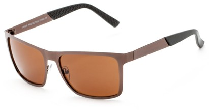 Angle of Polo #3637 in Bronze Metal Frame with Amber Lenses, Women's and Men's Square Sunglasses