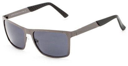 Angle of Polo #3637 in Grey Metal Frame with Smoke Lenses, Women's and Men's Square Sunglasses