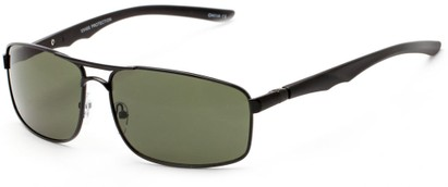 Angle of Ecuador #3640 in Black Frame with Green Lenses, Women's and Men's Aviator Sunglasses